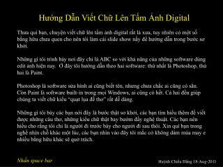 Hướng Dẫn Viết Chữ Lên Tấm Ảnh Digital