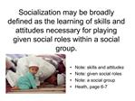 Socialization may be broadly defined as the learning of skills and attitudes necessary for playing given social roles wi