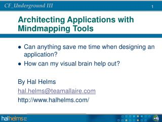 Architecting Applications with Mindmapping Tools
