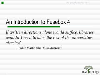 An Introduction to Fusebox 4