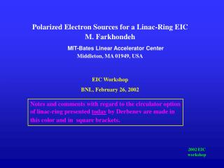 Polarized Electron Sources for a Linac-Ring EIC M. Farkhondeh MIT-Bates Linear Accelerator Center