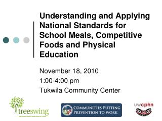 Understanding and Applying National Standards for  School Meals, Competitive Foods and Physical Education