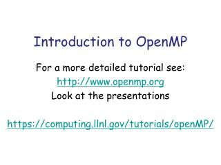 Introduction to OpenMP