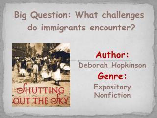 Author :   Deborah Hopkinson Genre :  Expository Nonfiction