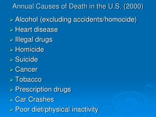 Annual Causes of Death in the U.S. (2000)
