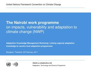 The Nairobi work programme on impacts, vulnerability and adaptation to climate change (NWP)