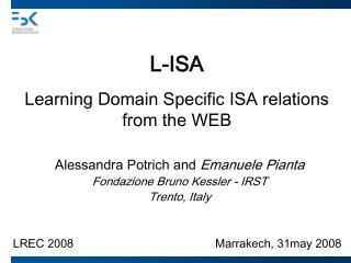 L-ISA Learning Domain Specific ISA relations  from the WEB
