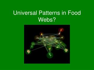 Universal Patterns in Food Webs?