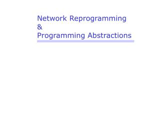 Network Reprogramming & Programming Abstractions