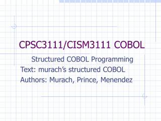 CPSC3111/CISM3111 COBOL