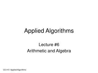 Applied Algorithms