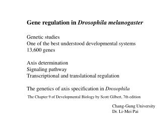 Gene regulation in  Drosophila melanogaster Genetic studies