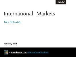 International   Markets Key Activities