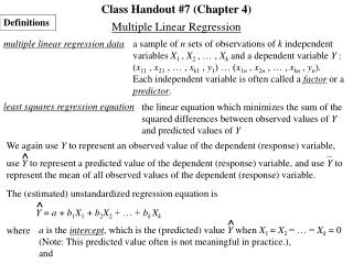 Class Handout #7 (Chapter 4)