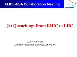 ALICE-USA Collaboration Meeting