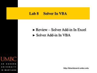 Lab 8     Solver In VBA