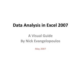 Data Analysis in Excel 2007