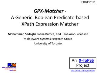GPX-Matcher  -  A Generic  Boolean Predicate-based  XPath Expression Matcher
