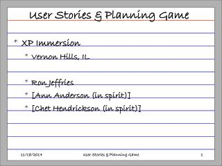 User Stories & Planning Game