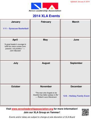 2014 XLA Events