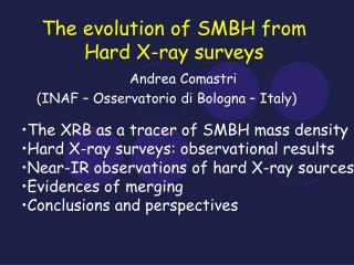 The evolution of SMBH from Hard X-ray surveys
