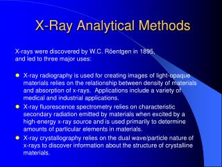 X-Ray Analytical Methods