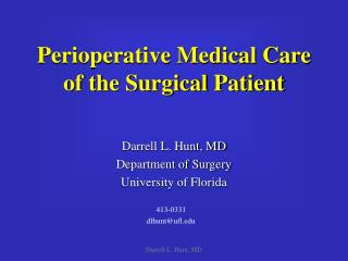 Perioperative Medical Care of the Surgical Patient