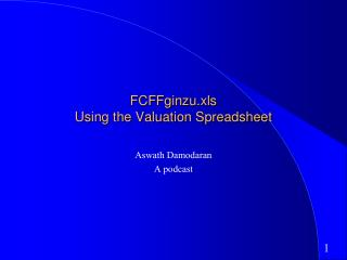FCFFginzu.xls Using the Valuation Spreadsheet