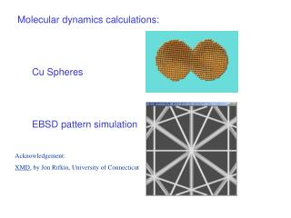Molecular dynamics calculations: Cu Spheres EBSD pattern simulation