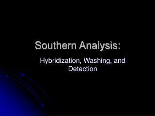 Southern Analysis: