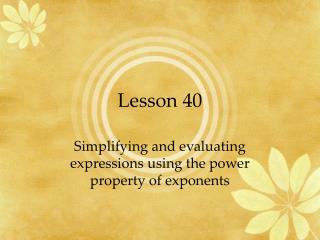 Lesson 40