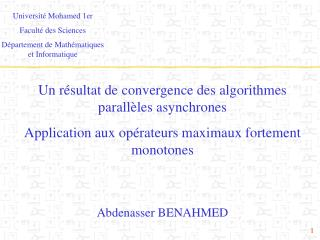 Universit� Mohamed 1er  Facult� des Sciences D�partement de Math�matiques et Informatique