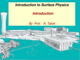 Introduction to Surface Physics   Introduction By  Prof.   N. Tabet