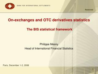 On-exchanges and OTC derivatives statistics The BIS statistical framework