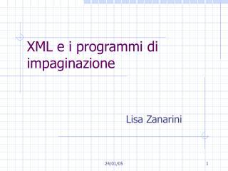 XML e i programmi di impaginazione
