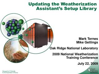Updating the Weatherization Assistant's Setup Library