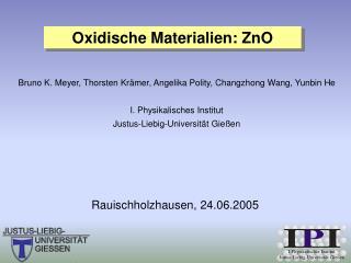 Oxidische Materialien: ZnO