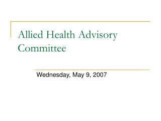 Allied Health Advisory Committee