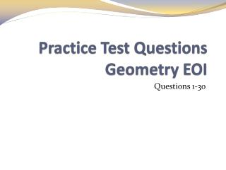 Practice Test Questions Geometry EOI