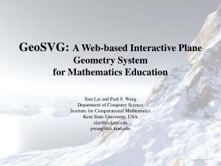 GeoSVG:  A Web-based Interactive Plane Geometry System for Mathematics Education