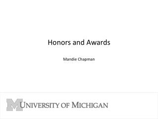 Honors and Awards Mandie Chapman