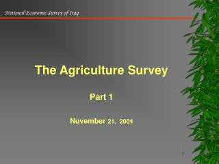 The Agriculture Survey  Part 1  November 21,  2004