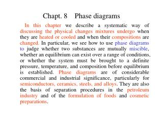 Chapt. 8    Phase diagrams