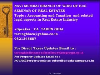 NAVI MUMBAI BRANCH OF WIRC OF ICAI SEMINAR OF REAL ESTATES