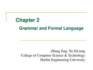 Chapter 2 Grammar and Formal Language