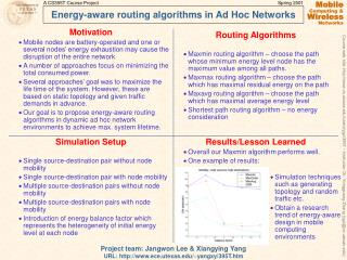 Energy-aware routing algorithms in Ad Hoc Networks