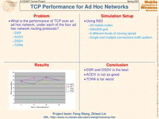 TCP Performance for Ad Hoc Networks