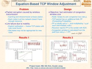 Equation-Based TCP Window Adjustment