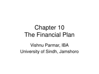 Chapter 10 The Financial Plan