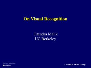 On Visual Recognition
